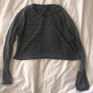 Forever 21 Black and White Striped Cropped Shirt